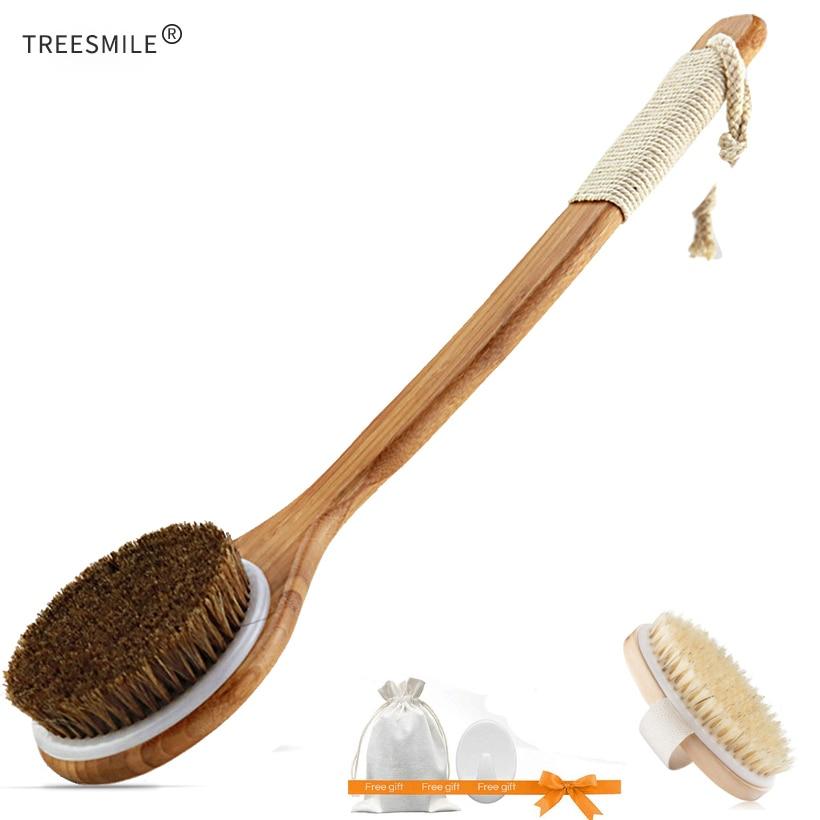 TREESMILE Exfoliating Wooden Body Massage Shower Brush Natural Bristle Bath Brush SPA Woman Man Skin Care Dry Body Brush D40