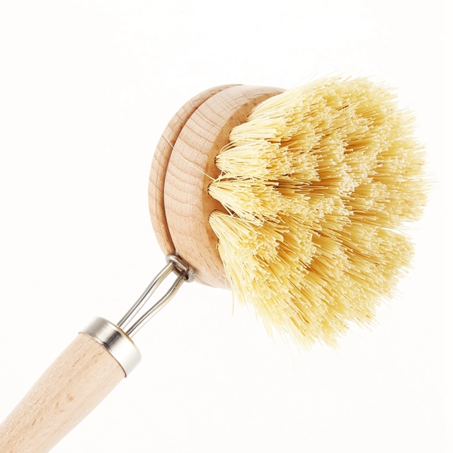 Skillet cleaning brush, replaceable head Sale! Heavy kitchen dishwashing brush retro wood pot brush Houseware cleaning brush 5