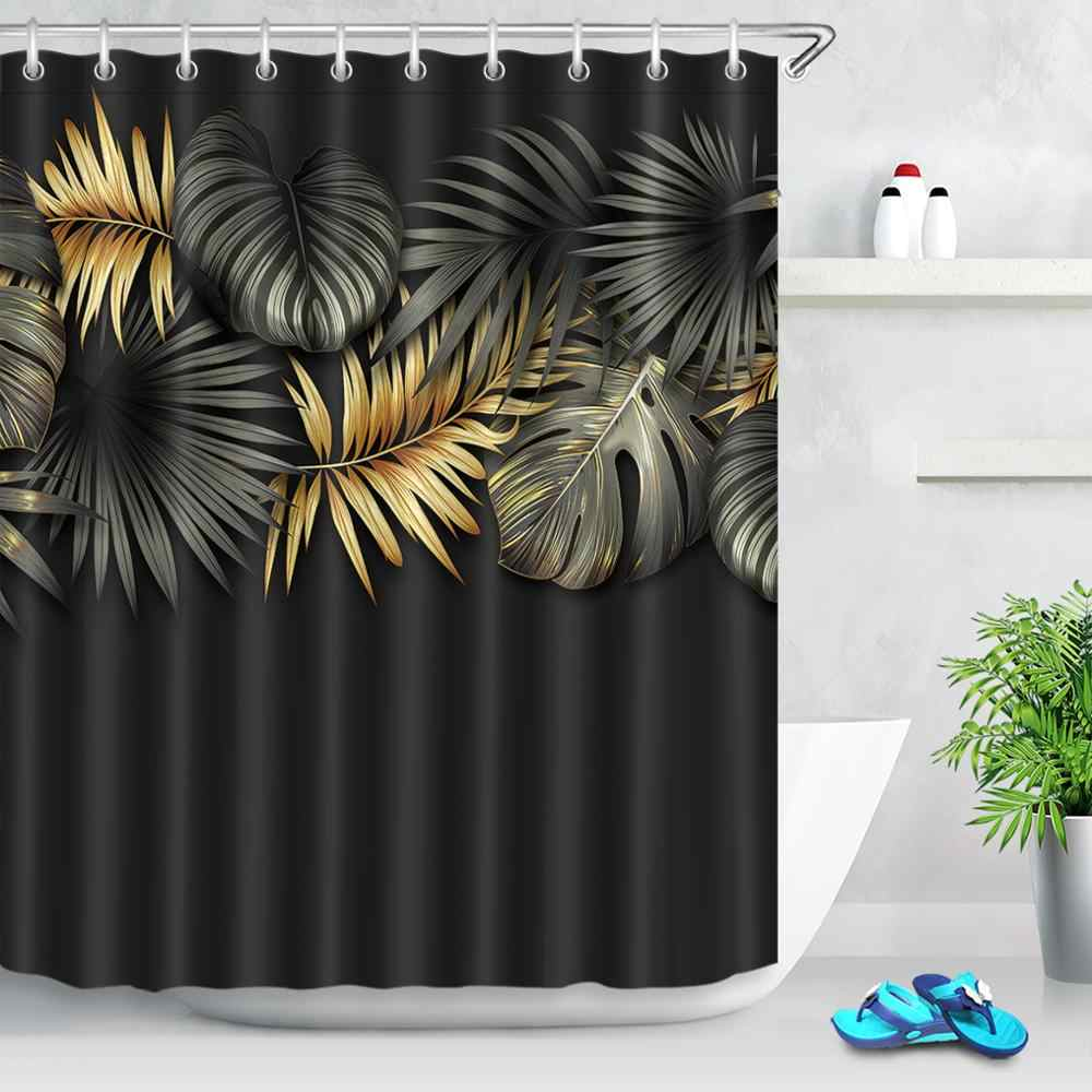 any size pretty yellow black gold long palm leaf shower curtain liner hooks sets bathroom waterproof fabric for bathtub decor