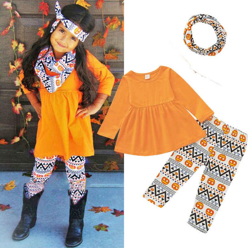 3 piezas bebé niña Halloween ropa Tops camiseta pantalones calabaza trajes 1-6Y Festival Niños ropa linda trajes