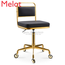 Golden Stainless Steel Work Stool Raised and Lowered Rotating Hairdressing Stool Beauty Barber Stool with Wheels Dressing Chair