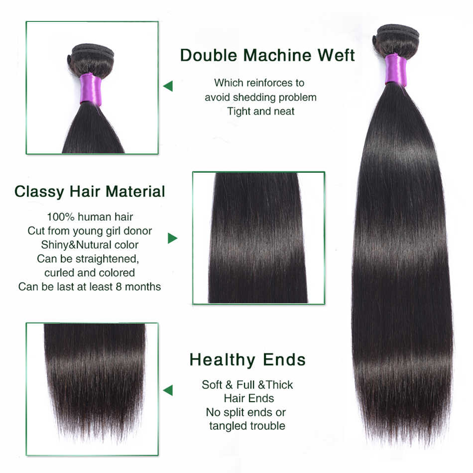 Liddy Bundels Met Sluiting Braziliaanse Steil Haar 3 Bundels Met Sluiting 100% Menselijk Haar Natuurlijke Kleur Non-Remy Haar extensions