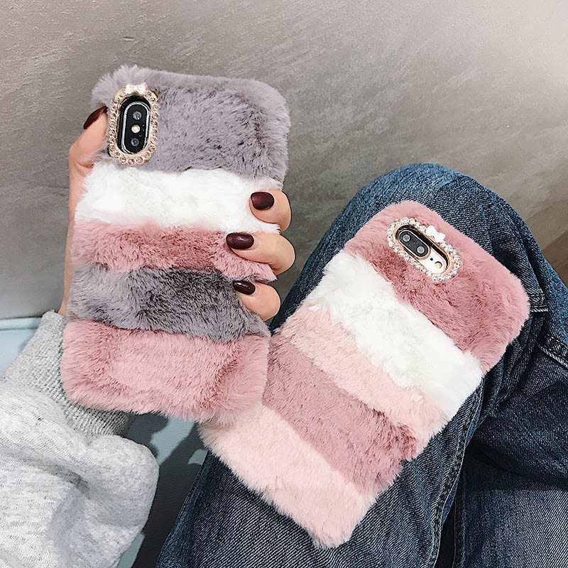 Cute Warm Soft Fluffy Plush Phone Cover Shell <font><b>Case</b></font> For <font><b>OPPO</b></font> <font><b>A5</b></font> A9 <font><b>2020</b></font> K5 Reno ACE X 3 2 Z R15X Realme 5 6 X50 XT X2 Pro A8 F11 image