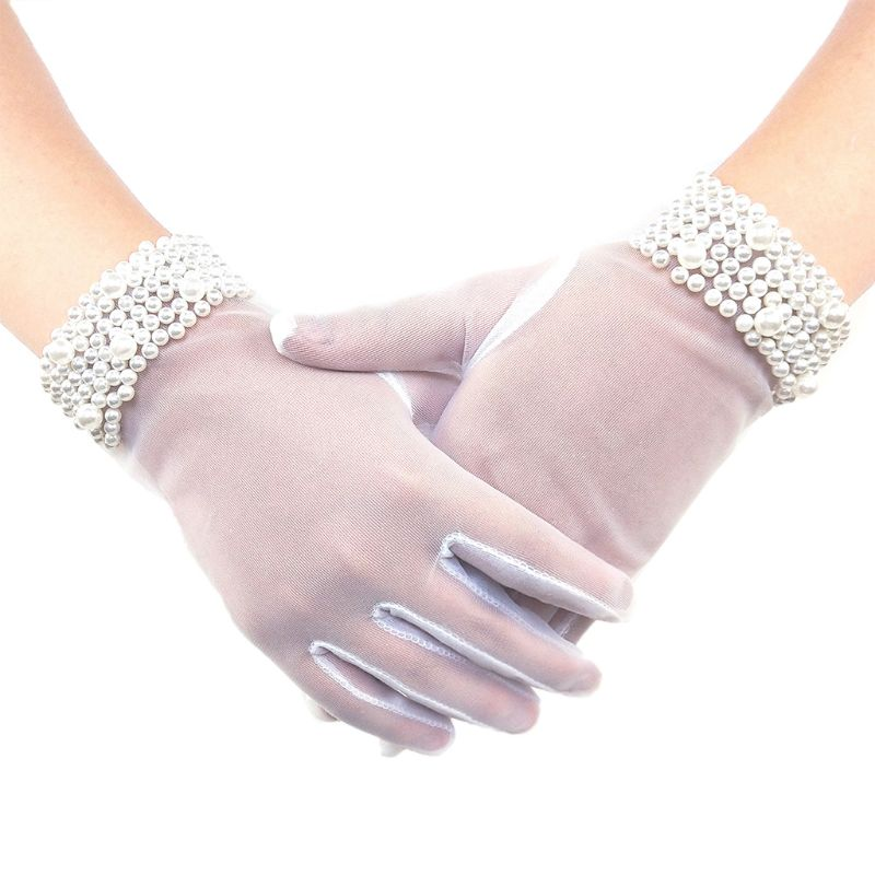 In Stock Translucent Finger Bride Gloves Women Wedding Accessories Pearl Wedding Dress Bride Glove