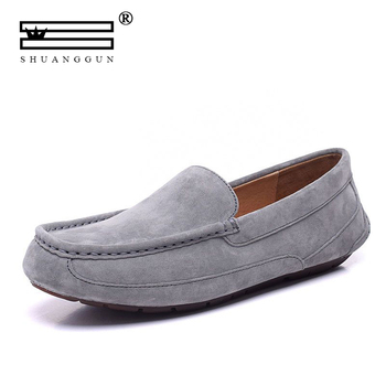 SHUANGGUN Men Casual Shoes Fashion Men Shoes Genuine Leather Men Loafers Moccasins Slip On Men's Flats Male Driving Shoes