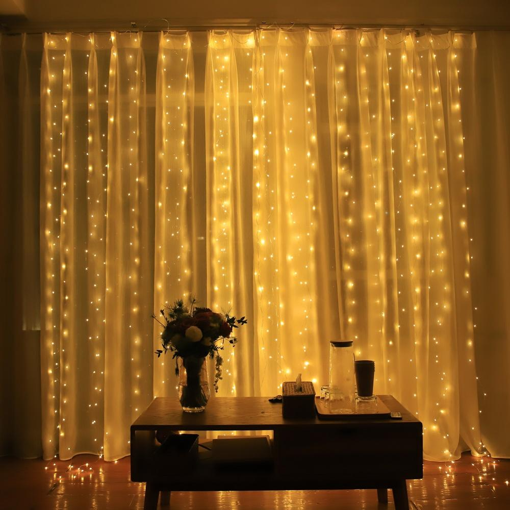 3M Fairy Lighting Decoration For Bedroom Home Window Wedding Christmas Party Garden Led String Curtain Lights Remote