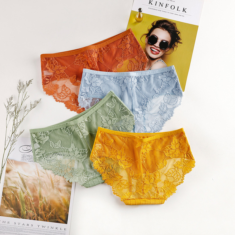 Fashion Sexy Comfortable Lace Panties Cotton Panties Underpants Solid Shorts Sexy Underwear Cutout Underwear Ladies lingerie