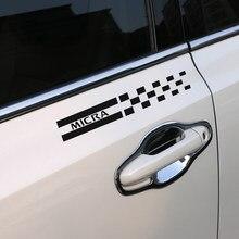 Film autocollant imperméable pour la couverture de la colonne de Sport, en vinyle, pour fenêtre réfléchissante, 2 pièces, pour Nissan Micra, accessoires