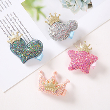 Cute Girls Children Shiny Hair Clips Headdress Fabric Side Clip Star Shape Hair Accessories Crown Princess Sequins Hairpins недорого