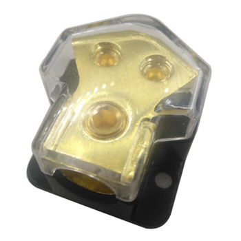 2-Way 2GA To 4GA Power/Ground Wire Distribution Block For Audio Amp Systems