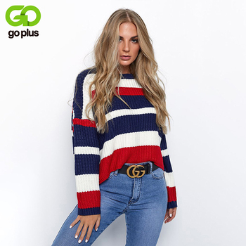 GOPLUS 2020 Plus Size Knitted Sweater Women Striped Thick Warm Long Sleeve Women's Sweater Autumn Winter Clothing Pull Femme цена 2017