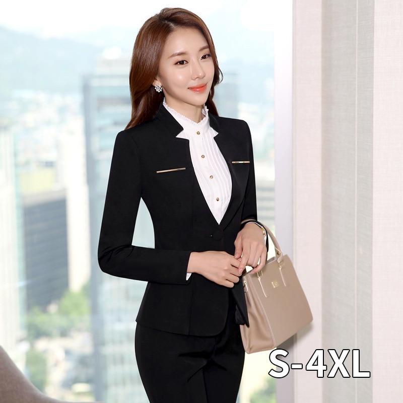 Female Uniform 2020 Hot Sale Womens Formal Suits Elegant Business Pants Suits Women Workwear Office Pant Suits