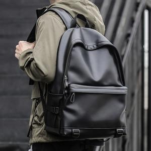 Image 4 - Sac à dos en cuir homme, sacs décole noirs pour adolescents, sacoche pour livres collège sacs à dos dordinateur portable