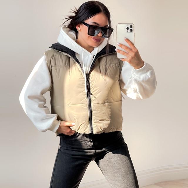 Autumn Winter New Women Vintage Black Jacket Coat Fashion Double Sided Warm Sleeveless Outerwear Female Casual Short Cotton Tops 2