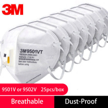 25pcs 3M 9501V/9502V Anti-dust Influenza PM 2.5 Fog Mask Safety Riding N95 Protective Respirator Anti-particles Filter Material