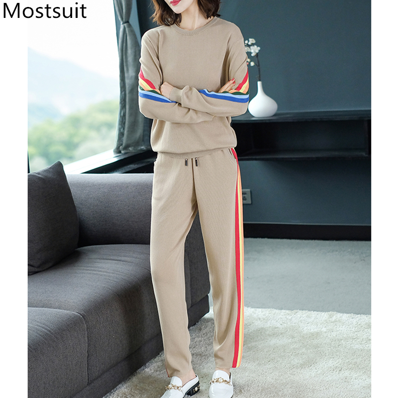 2019 Autumn Knitted Casual Striped Two Piece Sets Outfits Women Sweater And Pants Suits Fashion Elegant Korean Tracksuit Sets 37
