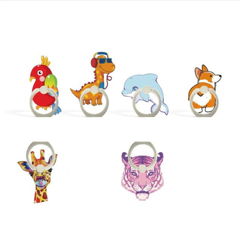 UVR Cute Parrot Dinosaur Tiger Finger Ring Smartphone Phone Stand Holder Mobile Phone Holder Stand For IPhone Xiaomi All Phone