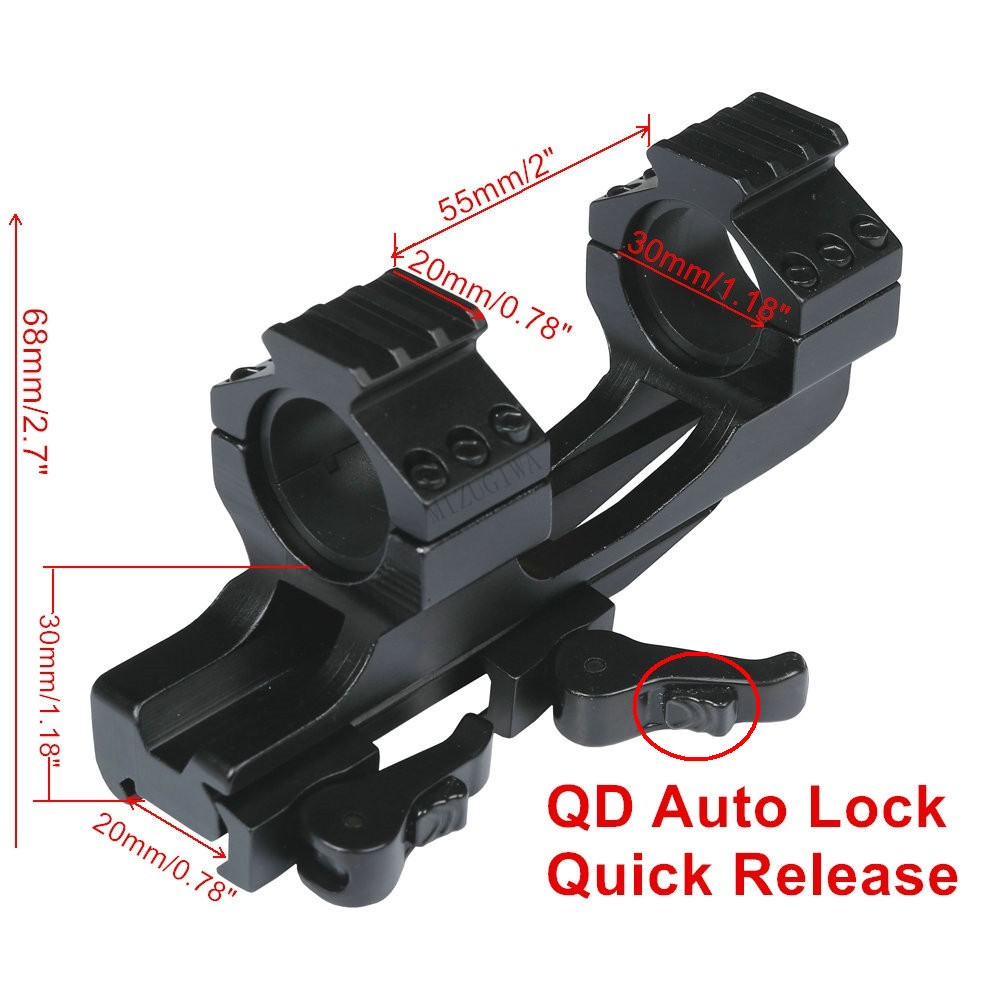 Scope Mount 25.4mm 1inch / 30mm Ring Quick Release Cantilever Weaver Forward Reach Heavy Duty 20mm Picatinny Rail QD Auto Lock