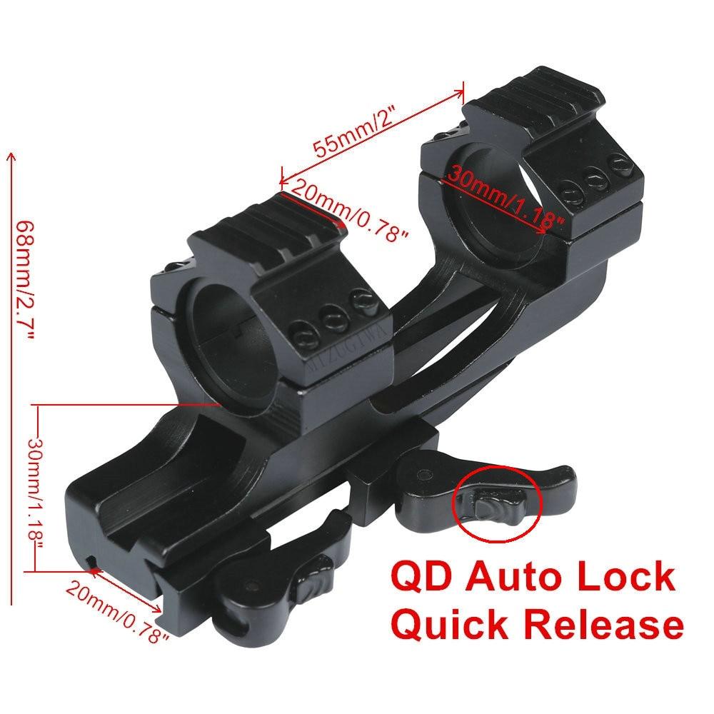 Scope Mount 25.4mm 1inch / 30mm Ring Quick Release Cantilever Weaver Forward Reach Heavy Duty 20mm Picatinny Rail QD Auto Lock