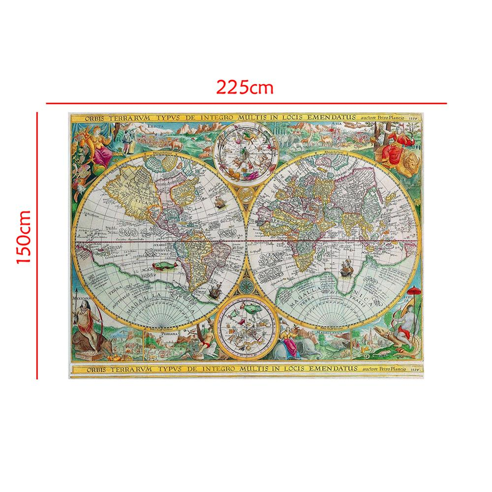 150x225cm Orbis Terrarvm Typvs De Integro Multis In Locis Emendatus 1594 Non-woven World Map Retro Map For School And Learner