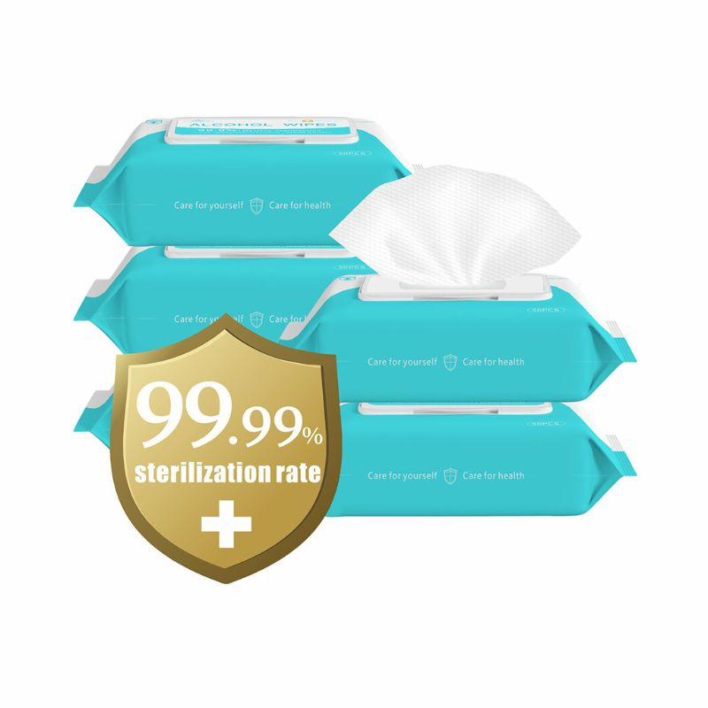 50pcs/Pack Personal Disinfection Portable 75% Alcohol Swabs Pads Wipes Antiseptic Cleanser Cleaning Sterilization Health Home