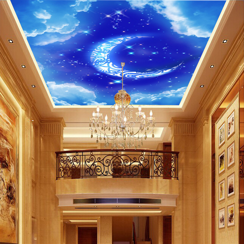 Customizable Large Mural Non-woven Wallpaper Moon Room Wallpaper Hotel Living Room Ceiling Blue Sky