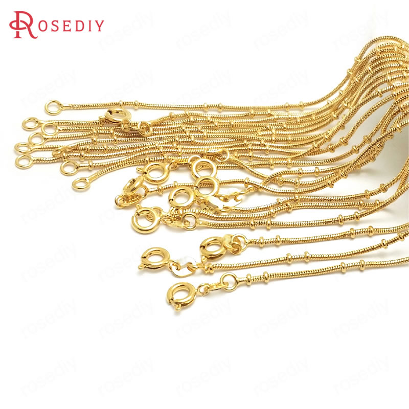 (37947)2PCS Full Length 45CM 24K Gold Color Copper With Round Spring Clasps Finished Necklace Chains Jewelry Making Supplies