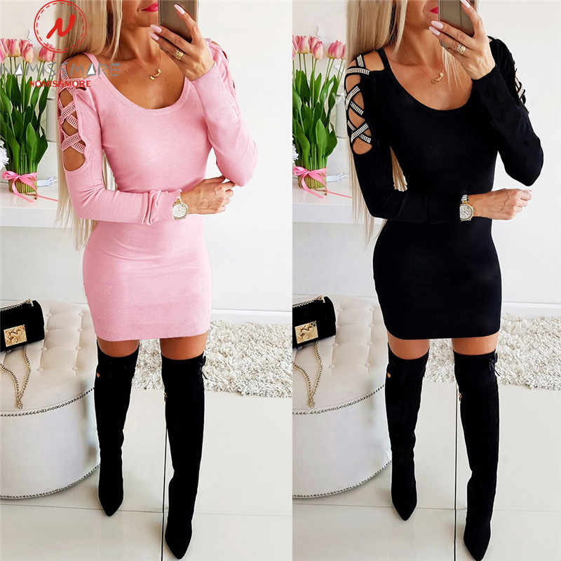 Elegant Women Mini Dress Patchwork Hollow Out Design V-Neck Long Sleeve Solid Color Slim Hips Autumn Winter Dress for Streetwear