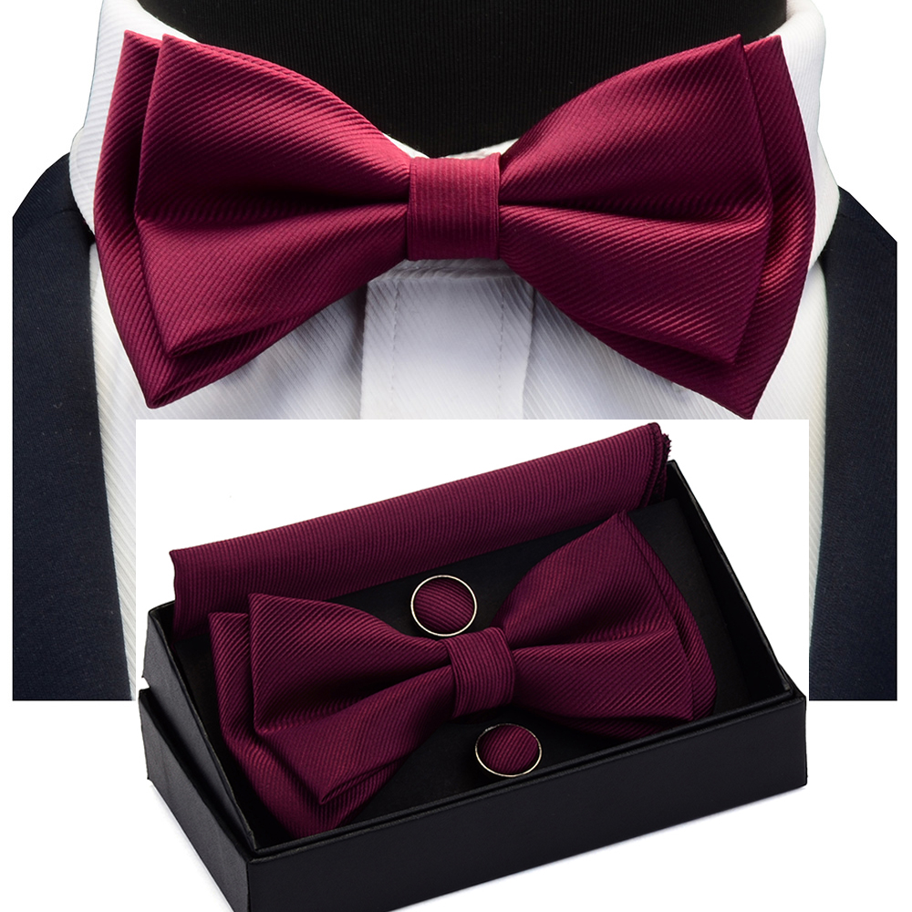 Solid Bow Tie Set Different Size Up and Down Men's Plain Bowtie Handkerchief Cufflinks Gift Box Set For Men Wedding Fashion Ties