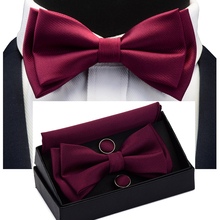 Solid Bow Tie Set Different Size Up and Down Men's Plain Bow