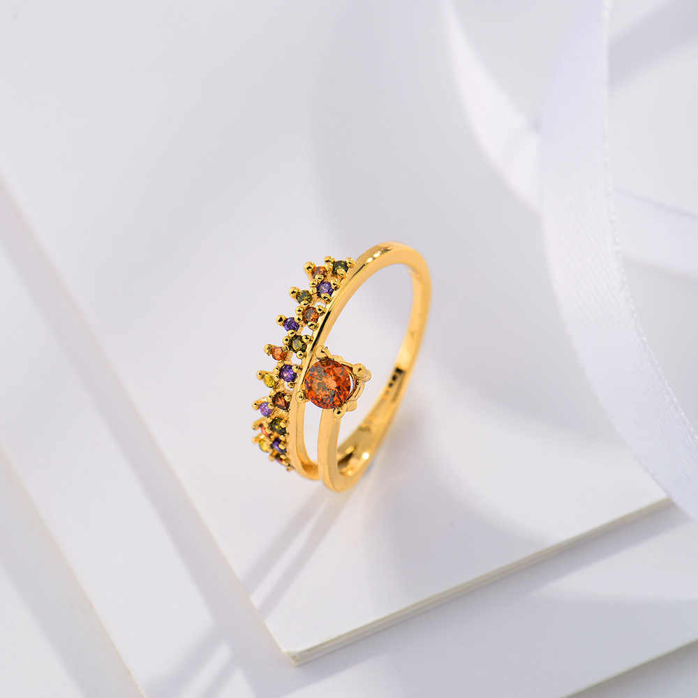 Viennois Metallic Ring For Women Twisted Zircon Female Finger Gold Color Jewelry 2019