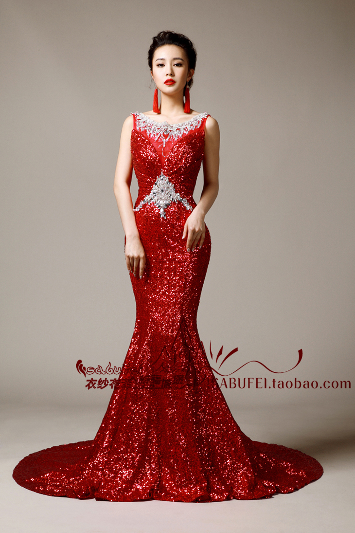 vestido de festa longo sexy crystal beading party gown 2018 red Sequined mermaid long evening gown mother of the bride dresses