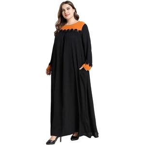 Image 2 - 黒女性イスラム教徒長袖マキシドレスイスラムカフタンドバイパーティートルコ Abayas ラマダンローブカクテル Jilbab アラブ