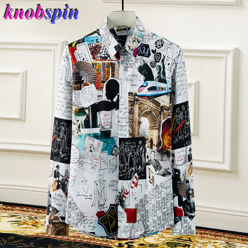 Plus Size 4XL Graffiti Poster Print Shirt Men Brand Long Sleeve Slim Camisas Masculina Casual Business Male Pure Cotton Shirts