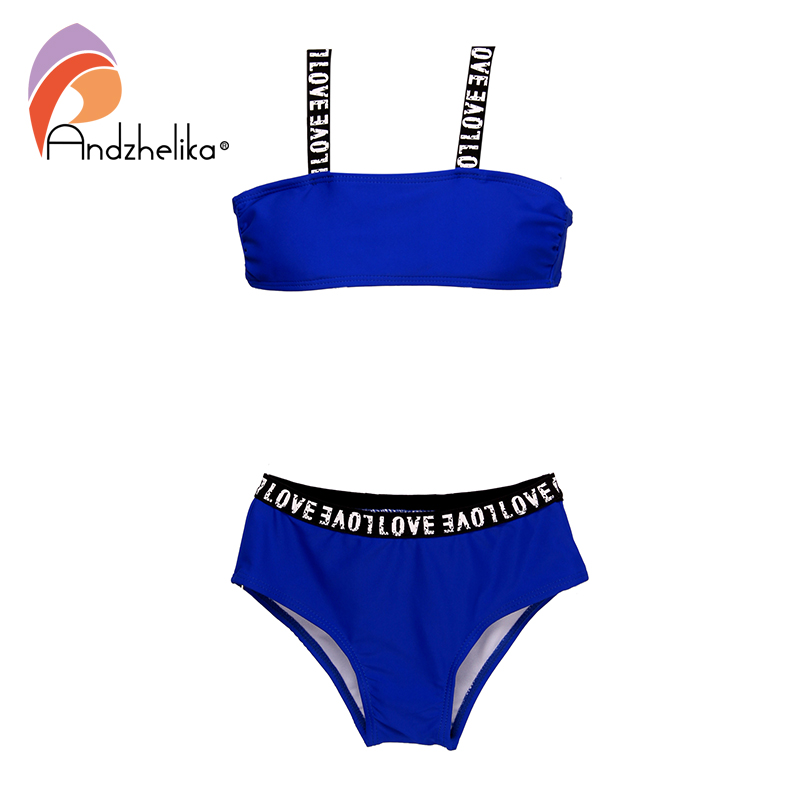 Andzhelika Children's Swimsuit Girls Sports Bikini Bandage Swimsuit Child Bikini Solid Patchwork Girls Swimwear Kid Bathing Suit