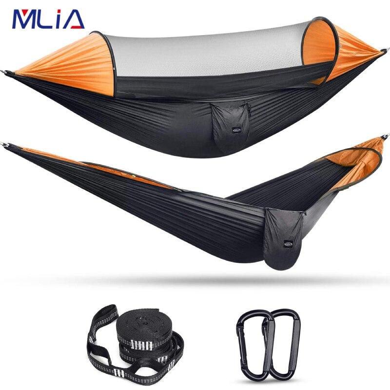 Большой Гамак MLIA для кемпинга с москитной сеткой, на 2 человек, всплывающий парашют, легкие подвесные гамаки, подвесные лямки для деревьев, п...