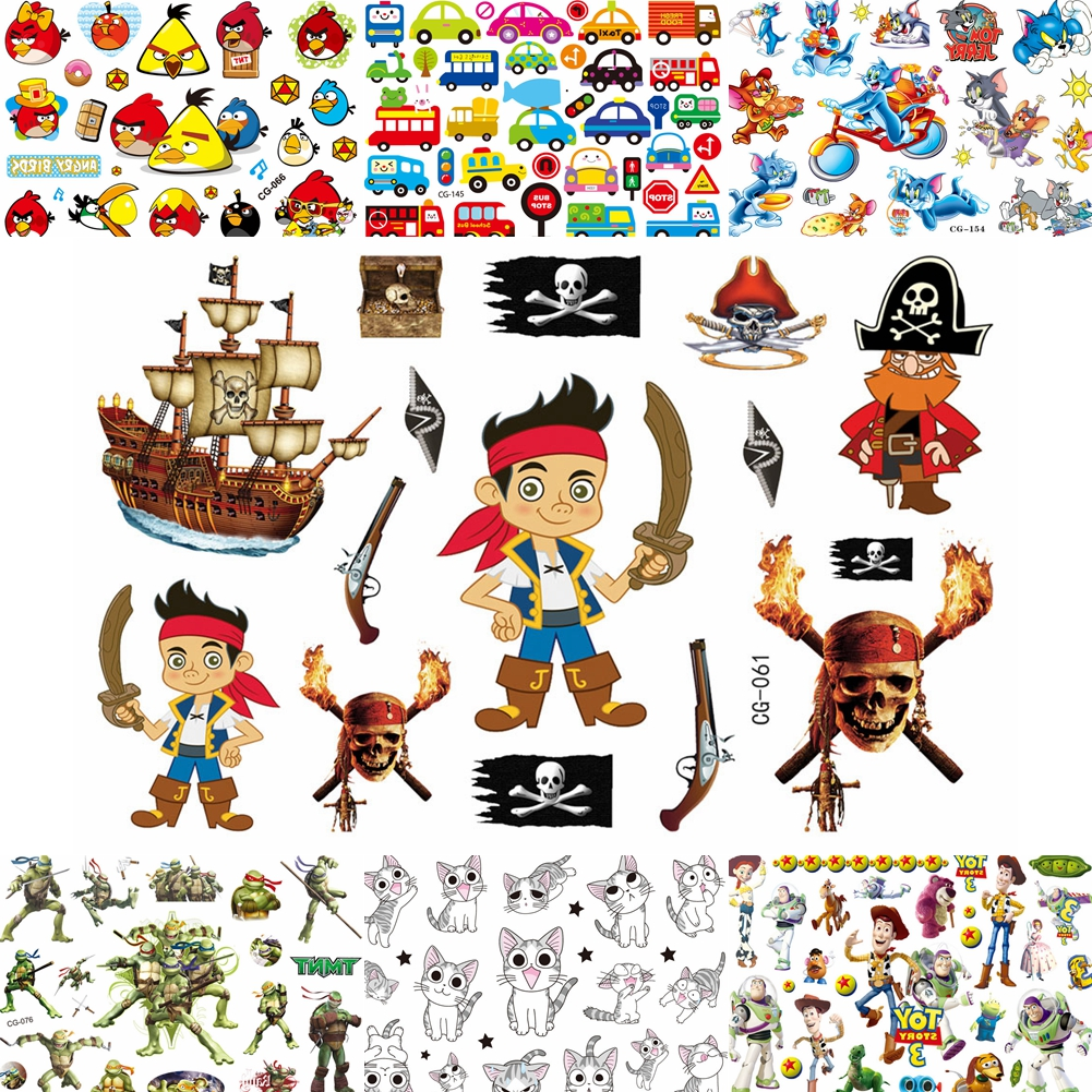 Funny Children Cartoon Fake Tattoos Waterproof Pirate Jack Hero Temporary Tattoo Sticker For Boys Kids Body Art Fake Tatoo Paste