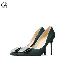 Купить с кэшбэком GOXEOU/2019 Autumn New women Pumps Green Silk Shoes Fashion Sexy  Pointed Toe Thin Heel Shoes