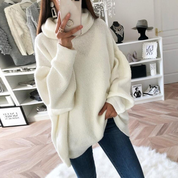 Knitted Sweater 2021 Women Oversize Basic Female Solid Loose Turtleneck Collar Pullovers Warm Autumn Winter Sweaters White Pink danjeaner autumn knitted sweater women spring loose long sweater dress winter basic dress warm female sweaters ladies pullovers