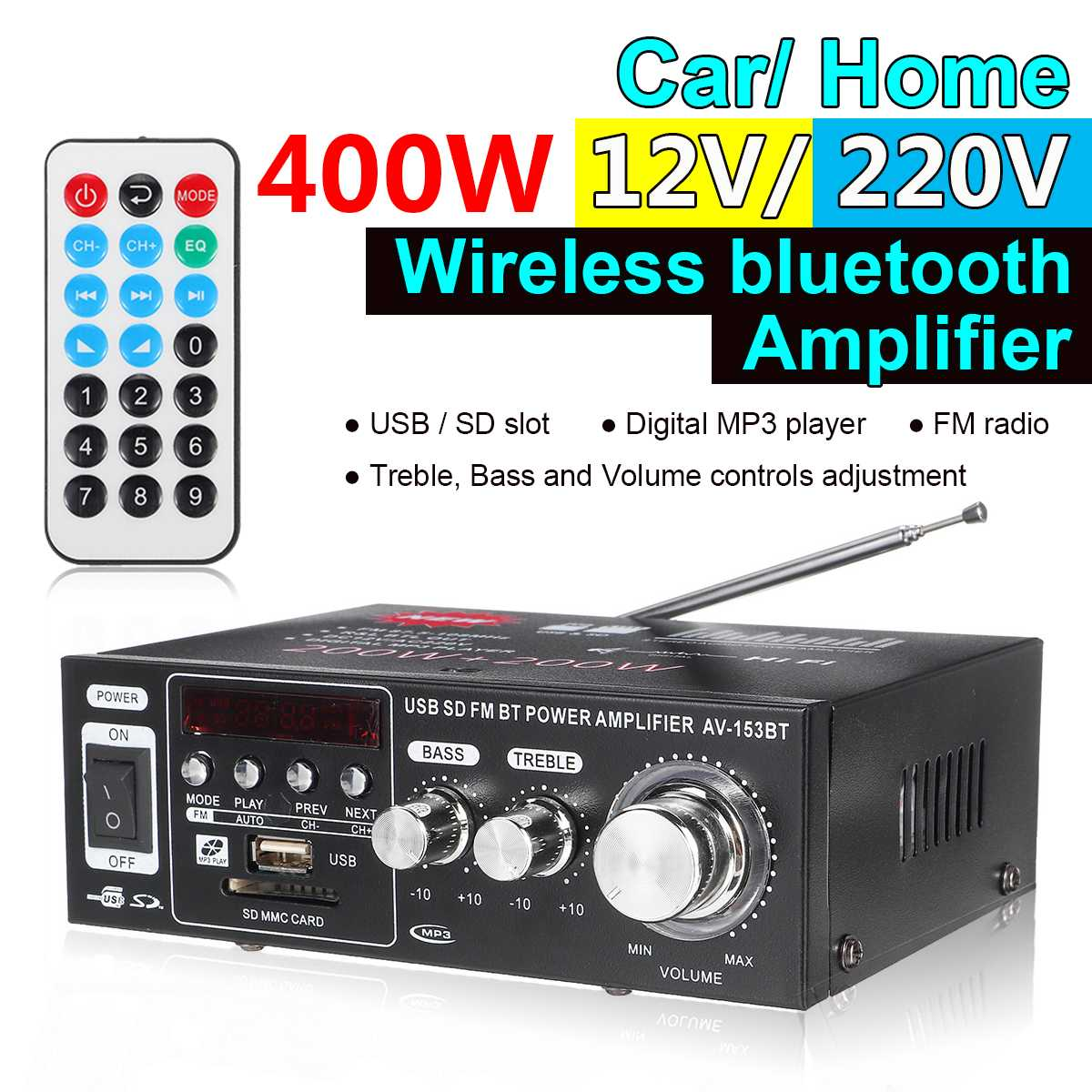 Audew 400W bluetooth Audio Stereo Digital Amplifier HIFI USB FM SD Home Car Amplifiers 220V/12V Full Function Infrared Control