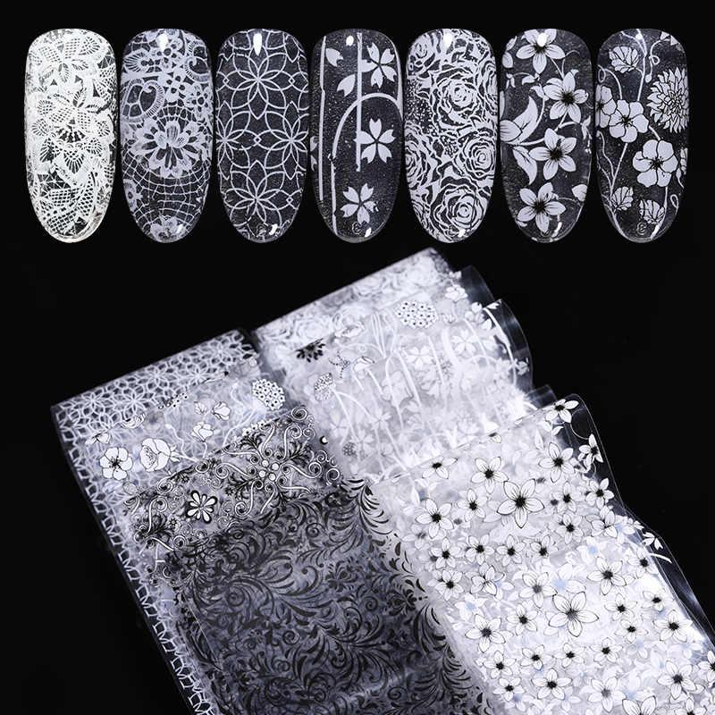 1 Roll Nail Folies Kant Zwart Witte Bloem Serie Willekeurige Stijl Nail Art Transfer Decals Sticker Nail Art Diy Ontwerp decoratie