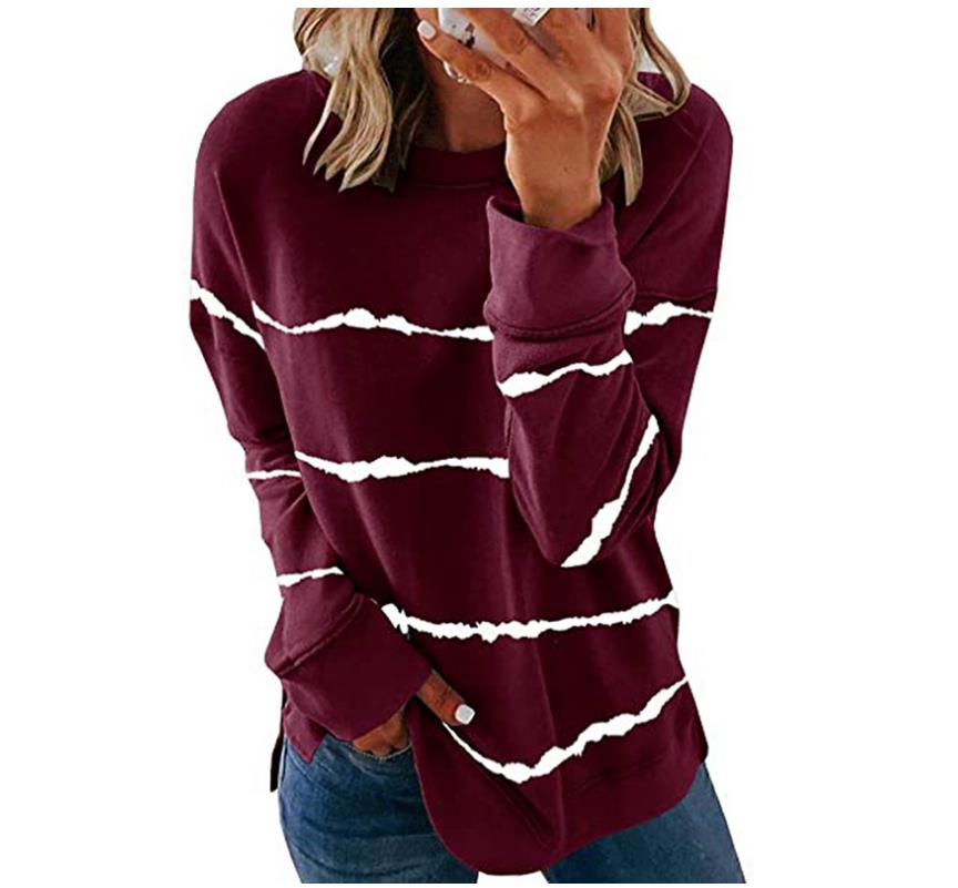 2020 New Autumn Tops 5XL Large Size Women Tie Dye Stripe T Shirt Casual Long Sleeve Oversized Loose Tee Shirt Fashion Ladies Top