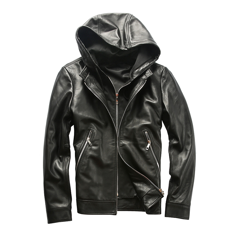 AH1908 Read Description! Asian Size Men's Sheep Leather Jacket Mens Genuine Sheep Leather Vintage Hoodie Jacket