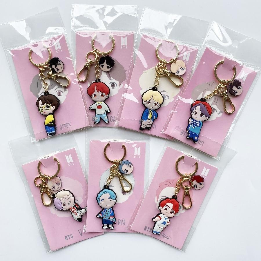 Kawaii Kpop Bangtan Boy Double-sided Cartoon Soft Plastic Three-dimensional Keychain Key Ring Pendant