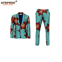 NEW AFRIPRIDE private custom african clothes for men slim fitted formal suit jacket+pant wedding work place business A731602