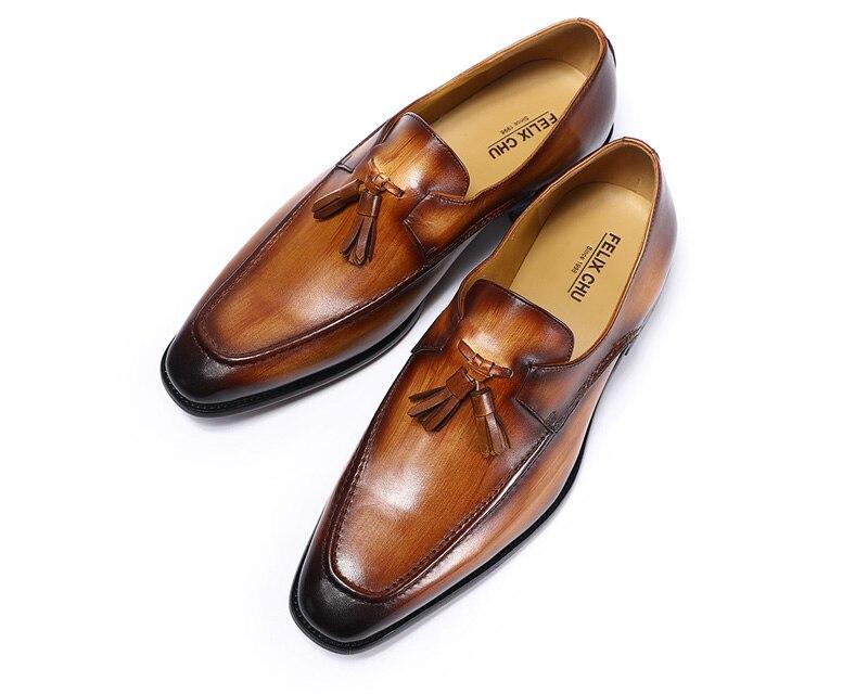 FELIX CHU 2020 hommes rue mode gland mocassins en cuir véritable marron chaussures formelles fête mariage hommes robe décontracté - 3
