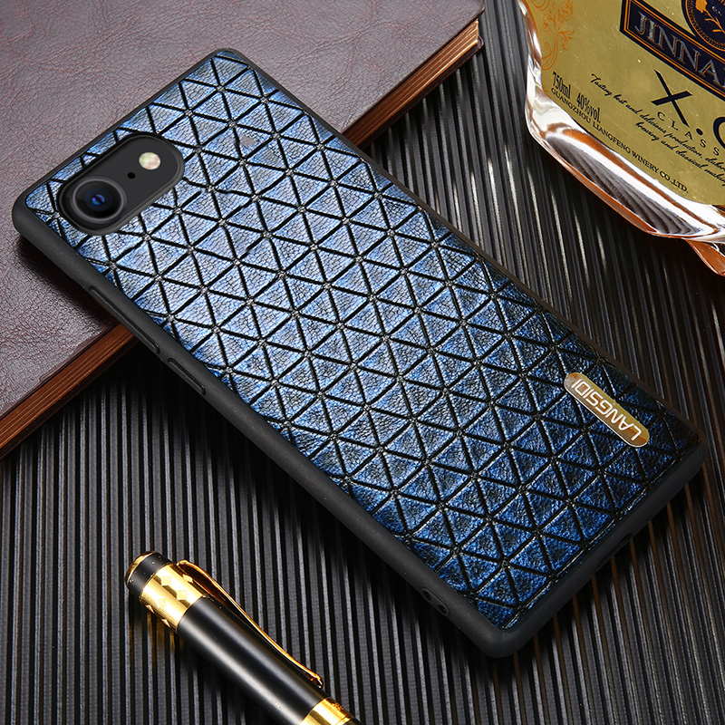 Original Geometric Grain Leather Phone Case For iPhone SE 2020 11 Pro Max X XS Max XR 5s 6 6s 8 7 Plus 360 Full Protective Cover