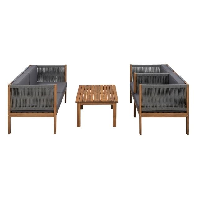 4PCS Wooden Outdoor Tea Room Chair Set  3
