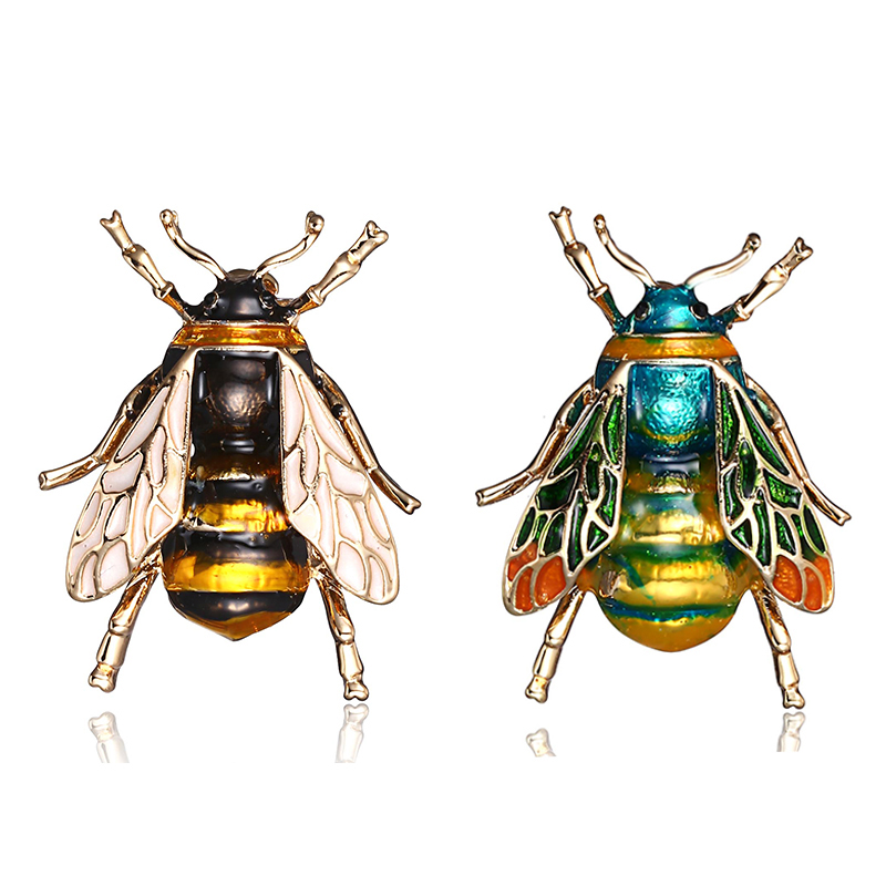 Bee Enamel Pin Fashion Brooches For Women Insect Pins Brooches Jewelry Scarf Clip Rhinestone Delicate Little Bee Brooches Badges