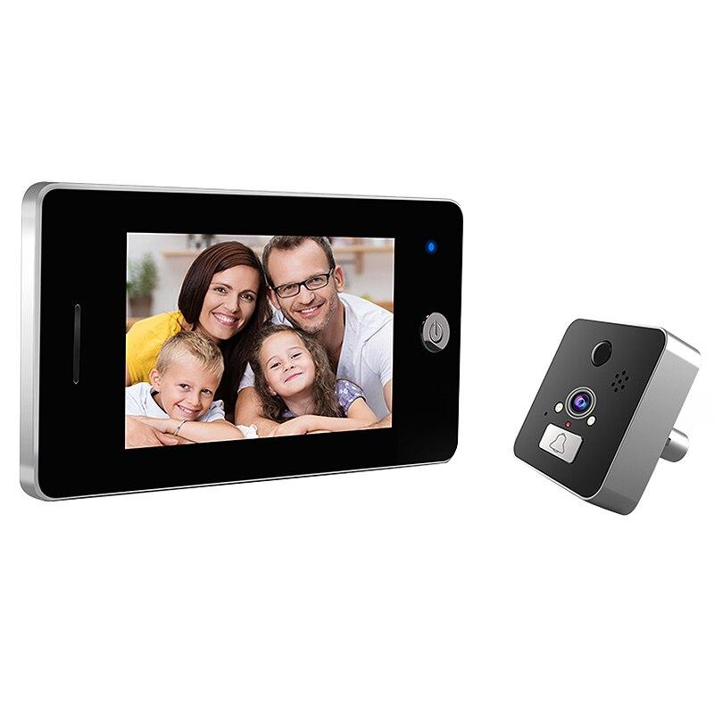4.3 Inch Screen Wireless Doorbell Ip Camera 960P 120 Degree Peephole With App Control Night-Vision Pir Motion Sensor